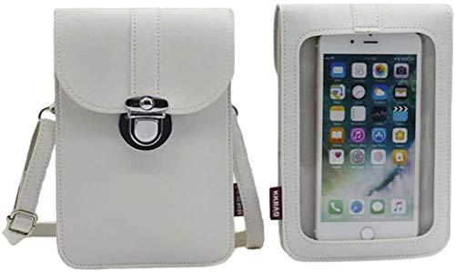 Junbujian Borsetta portafoglio da donna, in pelle, con tracolla, ideale per cellulare e carte di credito