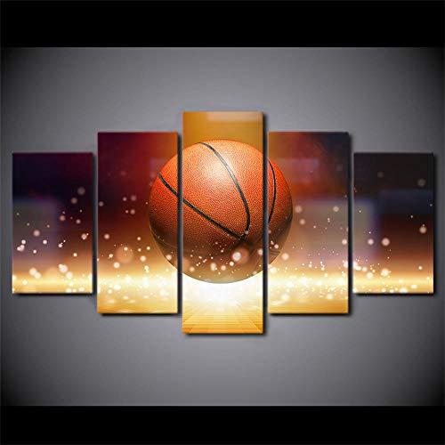 ZHRMGHG Lienzo impreso de 5 piezas, diseño de balón de baloncesto con llama, para el hogar, el salón, la oficina, moderno, decoración de regalo (con marco)