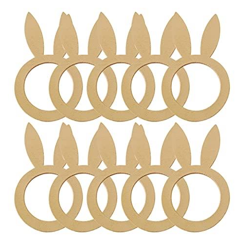 ZHQHYQHHX 10 anillos hechos a mano de madera de conejito para Pascua fiesta cena decoración mesa Pascua suministros