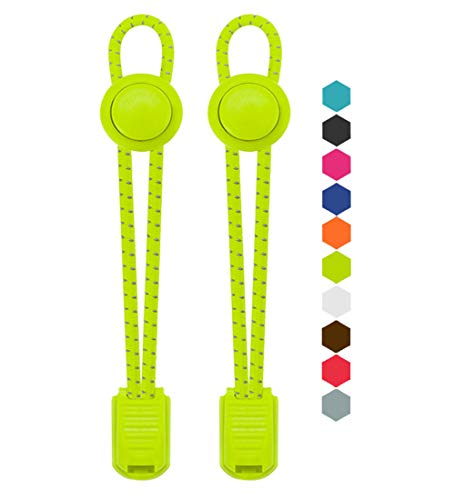 VESONNY Elastic No Tie Shoelaces - Reflective Shoe laces for Kids and Adults (green)