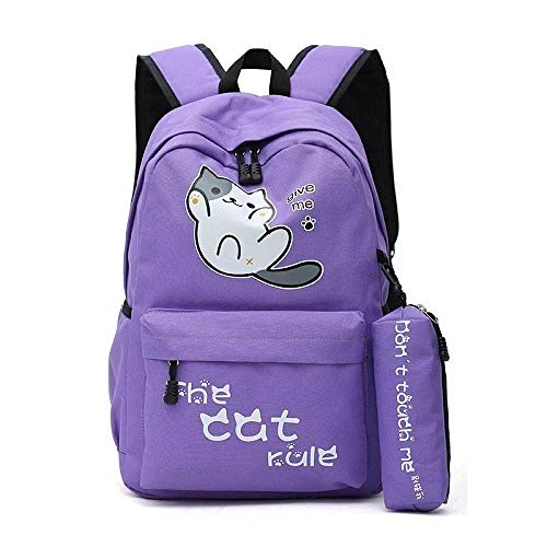 NUOLAN Campus Style Cute Cat Rucksäcke Studenten Mädchen Schultaschen Für Jungen Schultasche Rucksack Cartoon Bagpack Kids Bag 1 STÜCK/Lila