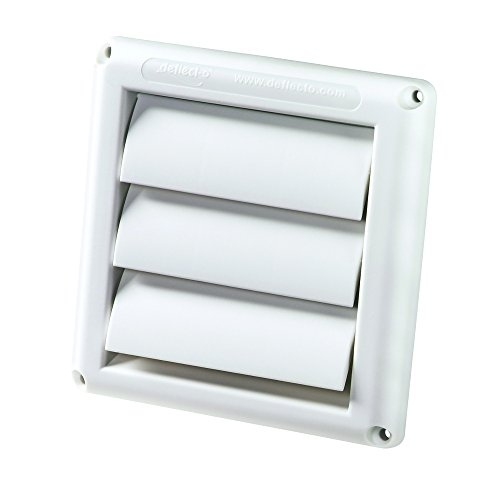 "Deflecto Supurr-Vent Louvered Outdoor Dryer Vent Cover, White, 4"" Hood (HS4W/18)"
