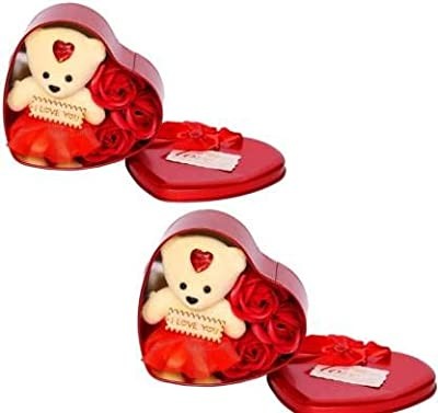 Artificial 3 Rose Teddy in Heart Box