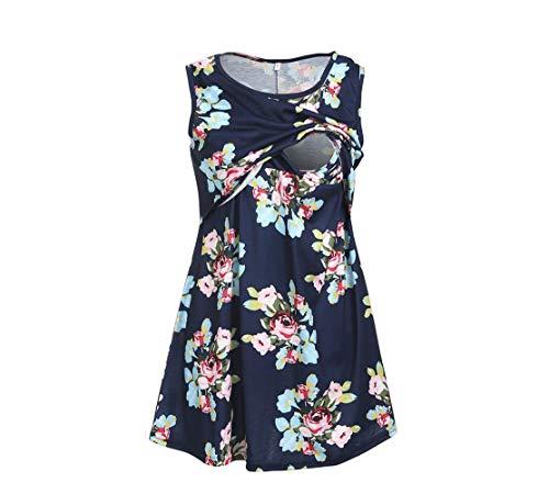 Yuyudou Vrouwen Moederschapsvest jurk omstandjurk Nursing Pyjama's Soft Sleeveless Stillen Patchwork Printing Flower Pregnancy Sleepwear
