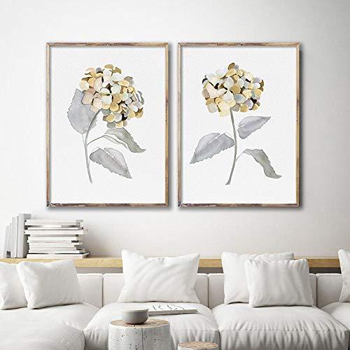 Aquarel hortensia's bloem schilderij Floral tekening minimalistische bloem Wall Art botanische Wall Decor Homegoods-40x60cmx2pcs geen frame