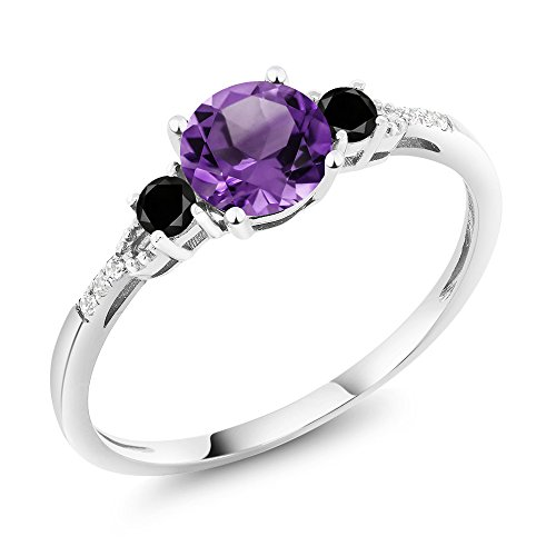 Gem Stone King 10K White Gold Purple Amethyst and Black Diamond Accent 3-stone Women's Engagement Ring (0.88 Cttw) (Size 6)