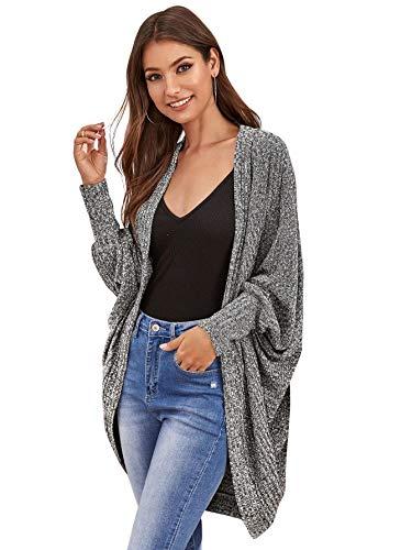 SweatyRocks Women's Casual Oversized Open Front Dolman Long Sleeve Knit Cardigan Sweater Grey L