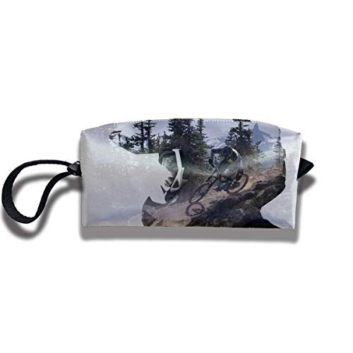 Portable Cosmetic Bag, Mountain Bike Show Oxford Makeup Handbag, Large Capacity Coin Pouch Wristlet Wallets Storage Case For Travel School