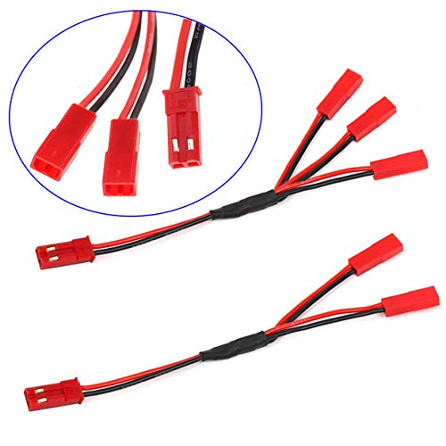 "ShareGoo 4PCS JST Plug Splitter,JST Male Female Y Cable,JST Y Parallel Adapter Splitter Harness for Traxxas TRX-4 1/10 RC Car Crawler ESC Battery Motor Cooling Fan,15CM/5.9"""