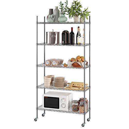 Homfa Küchenregal Standregal 5 einstellbare Regalböden Metallregal Haushaltsregal mit Rollen Lagerregal aus Metall für küche Silber 184x89x34cm