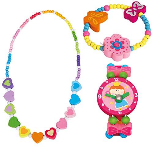BINO 3 TLG. Set Holzschmuck Mädchenschmuck Kinderschmuck Motiv Regenbogen Herz - Halskette Armband Blume Rosa und Armbanduhr