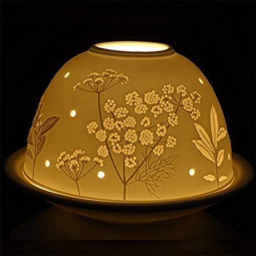Nordic Light Shade | Plato portavelas de Flores | Idea de Regalo de Encaje | Accesorios para Velas, Blanco, Talla única