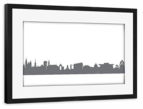 artboxONE Poster mit Rahmen schwarz 75x50 cm Copenhagen 02 Monochrom Schiefergrau von 44spaces - gerahmtes Poster