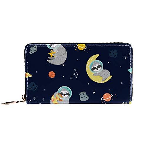 Damen-Geldbörse mit Reißverschluss und Handy, lustiges Faultier Astronaut Sterne Planeten Raketen Muster Reise-Geldbörse Leder Clutch Tasche Kartenhalter Organizer Geldbörse