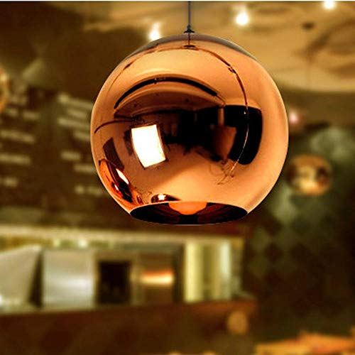 HOMECR Lámpara Colgante con Forma De Bola De Vidrio - Space Plating Mirror Ball Chandelier - para Restaurante Bar Bar Pasillo Lámpara Decorativa Red- 40CM