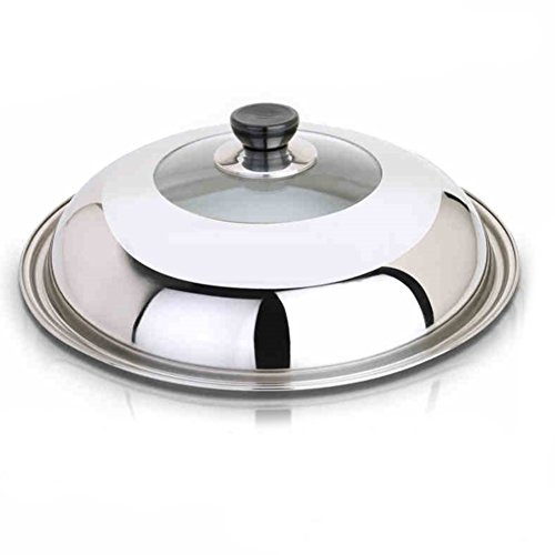 Hofumix Pot Lid Stainless Steel Universal Lid Pan Lid Utensil Lid Cover with Steam Vent 14in (Large)