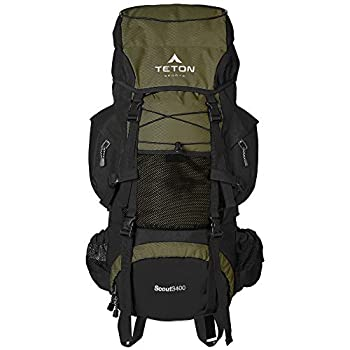 TETON Sports Scout 3400 Internal Frame Backpack  High-Performance Backpack for Backpacking Hiking Camping  Hunter Green  121