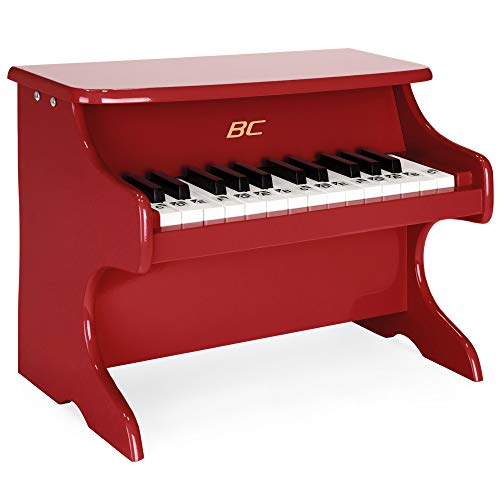 Best Choice Products Kids 25-Keys Wooden Learn-to-Play Mini Piano w/ Key Note Stickers, Music Book - Red