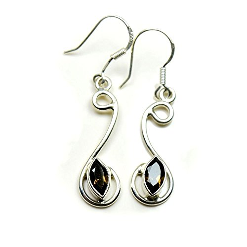 gemsonclick Natürliche Rauchquarz Ohrringe 925Sterling Silber Schmuck für Frauen