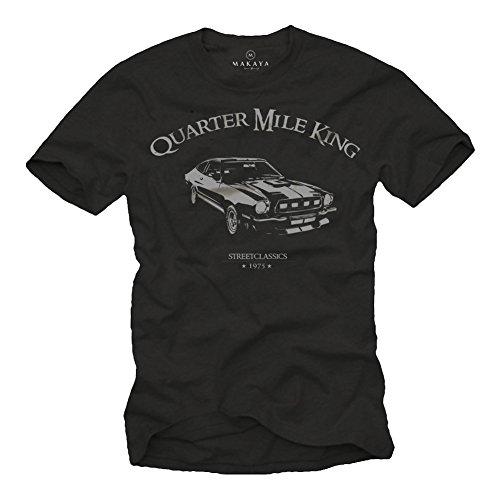 MAKAYA T-Shirts für Herren schwarz Quarter Mile Mustang King Logo grau Größe XXXXXL