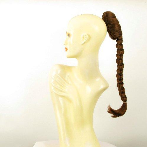 Postiche queue de cheval extension femme longue natte 50 cm châtain doré cuivré ref 4 en 30