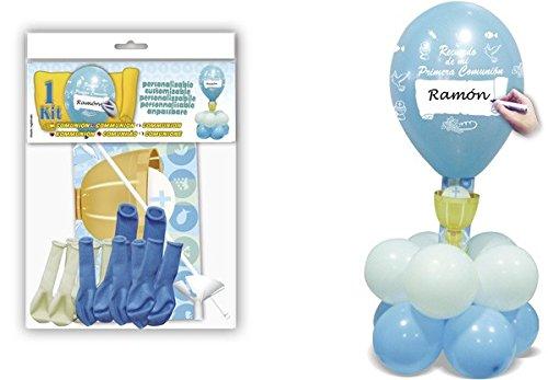DISOK - Deco Kit Centro Comunión Azul - Globos para Fiestas Comuniones Decoración