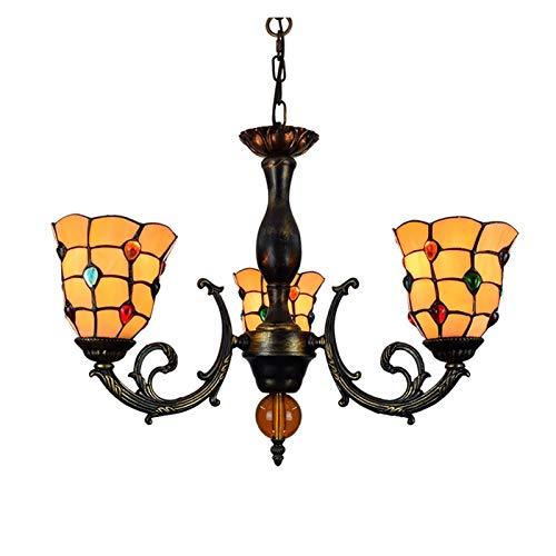 Luminaria colgante de techo 6 pulgadas Luz pendiente del estilo del vitral de Tiffany de la lámpara perlas coloridas cortinas de la lámpara 3 armas Araña Con invertido techo de la lámpara colgante