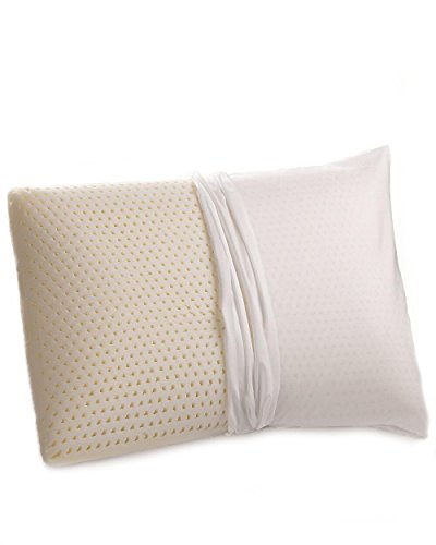 100% Talalay Latex Pillow with GOTS Certified Organic Cotton Cover (Queen Size, Medium), Bed Pillow for Sleeping, for Back and Side Sleepers, Helps for Back, Neck and Shoulder Pain