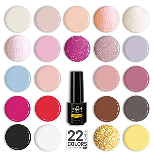 ABGEL 22 Colors Shellac Nail Polish,Pink Pastel Matte Gel Nail Polish Set,Black White Red Nude Nail Polish Kit with Top Coat Gel Nail Polish