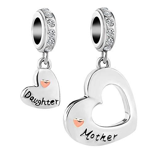 Korliya Mum Mother and Daughter Love Heart Charm Bead for Bracelet