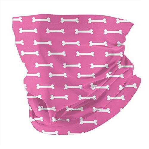 Xinflag@10 Mascarilla para perro, perro, mascota, perro por el patio, estampado de huesos, color rosa, a prueba de polvo, a prueba de viento, variedad, pasamontañas para mujeres y hombres