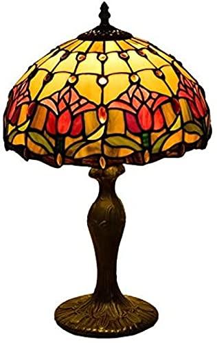 Lámpara de mesa de cristal de colores Tiffany de 12 pulgadas, lámpara de jardín americana, lámpara de escritorio de noche de dormitorio de hotel de tulipán rojo retro creativo