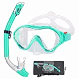 Kids Snorkeling Gear Anti Leak -HHAO Sport Kids Snorkel Set Junior Anti Fog 180° Panoramic View, Swim Goggles with Nose Cover Scuba Diving Mask Dry Snorkel for Boys Girls 4-15 Yrs Old