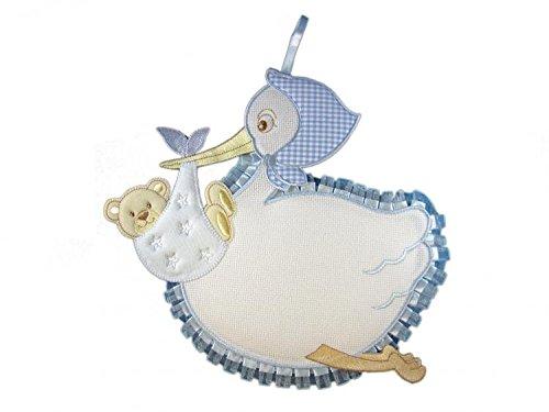 Schleife Geburt/Kokarde Storch mit AIDA Besticken A Kreuzstich hellblau gearbeitet völlig Hand