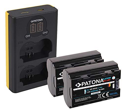 PATONA Cargador Doble LCD USB con 2X NP-W235 Platinum Batería Compatible con Fuji Fujifilm X-T4