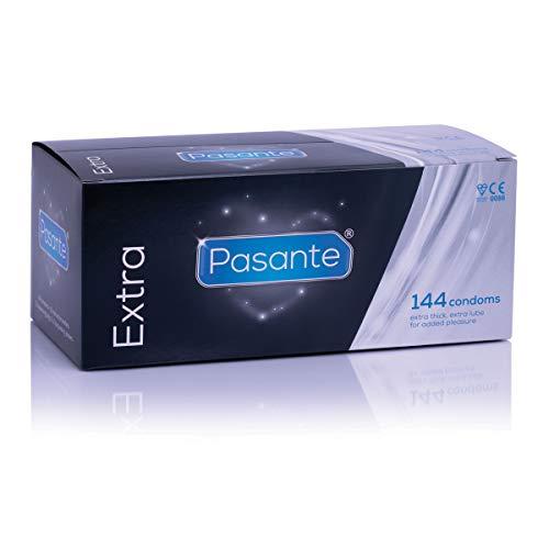 Pasante Extra Safe - 144 Kondome mit besonders hoher Wandstärke, für alle Stellungen ideal geeignet - Kondomvorrat für viele heiße Momente