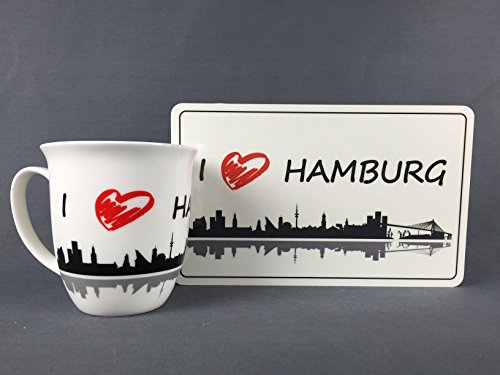 Buddel-Bini Frühstücksset I Love Hamburg Becher + Frühstücksbrett 400 ml