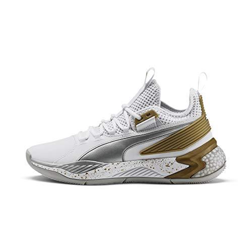 PUMA Men's Uproar Hybrid Court Core White-Metallic Silver Basketball Shoe-9 UK (43 EU) (10 US) (19277509)