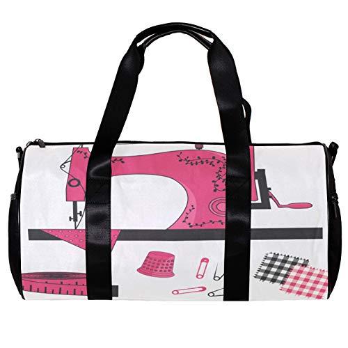 Bolsa de deporte redonda con correa de hombro desmontable, artículos de costura, bolso de entrenamiento para mujeres y hombres