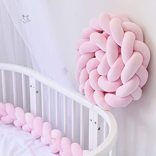 HB.YE Bettumrandung Kinderbett Baby Krippe Baby Nestchen Weben Bettumrandung Kantenschutz Kopfschutz für Babybett Bettausstattung Kinderbett Stoßstange (200cm, Pink)