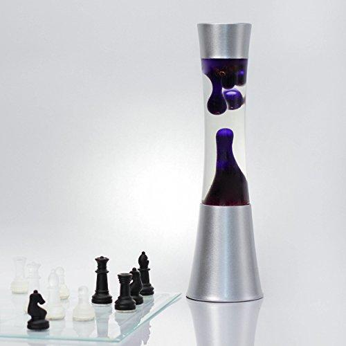 Elegante Lavalampe Lila Wachs SANDRO H:39cm Stimmungslicht Tischlampe Retro Wohnzimmer Jugendzimmer