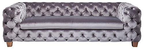 Kare Design Sofa Desire Silbergrau, 3-Sitzer, Breites Loungesofa aus weichem Samtstoff, Edle Couch mit Vintage Effekt, (H/B/T) 68x245x100cm