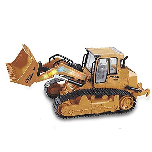 Kioiien RC Bulldozer, Excavadora de Control Remoto de 10 Canales RC Bulldozer con transmisor de 2.4GHz, vehículos de construcción de Cargadores con música e iluminación, Sonido de Trabajo mecánico