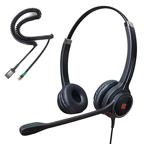 IPD IPH-255 Optimo-X Duo Ear Noise canceling,Corded Headset for Call Center,Office&Landline Phones with U10P-S Bottom Cable w RJ9 Jack Cable Works with Yealink,Snom,LG &Other IP Phones