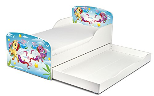 Leomark KINDERBETT 140×70 mit Schublade Funktionsbett Einzelbett mit Matratze Motiv: Pony Sehr Einfache Montage, Bettkasten - 2