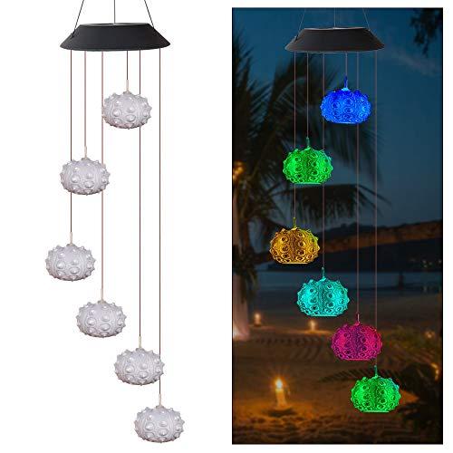 Houkiper Windgong met zonnelicht, kleurverandering, waterdicht, hangend, LED, windgongen, nachtlampje, ornamenten