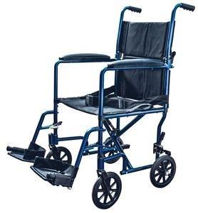 """Aluminum Transport Chair Lightweight Wheelchair, 19"""" (Blue)"""