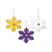 FOCO NFL Christmas Ornament Set - 3 Piece Multi-Colored Metal Snowflakes Holiday Tree Decoration – Show Your Team Spirit with Officially Licensed Football Fan Decor (Minnesota Vikings)