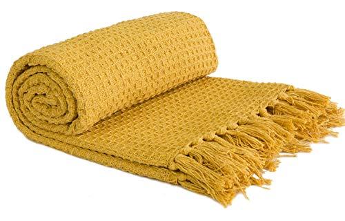 Emma Barclay Honeycomb Throw 50 x 60 Ochre, 100% Cotton, 50x60 (127x152cm)