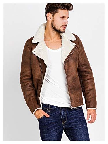 Yanhuigang Chaqueta cálida y cómoda fácilmente. Faux Ante Chaqueta de Motocicleta Hombres Invierno Moda cálida marrón Chaquetas de Cuero Abrigos Hombre vellece Casual Abrigo básico Ropa Mascul